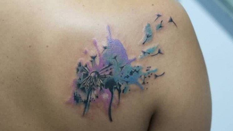 Marvelous Watercolor Tattoos On Right Back Shoulder