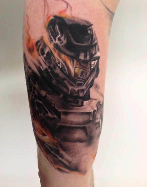 Master Chief With Helmet And Flame Tattoos