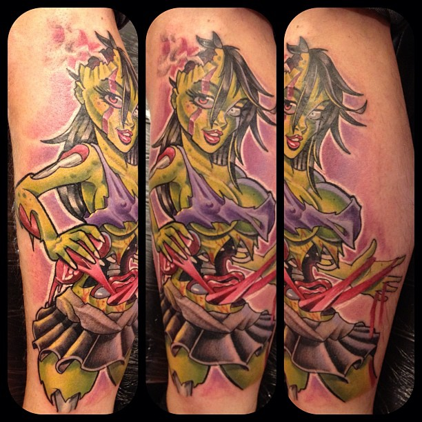 Mat Lapping Zombie Pin Up Tattoos