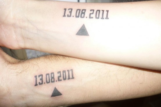 Matching Date And Triangle Tattoos For Couple