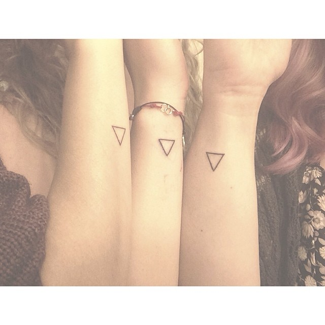 Matching Triangle Tattoos Of Best Friends