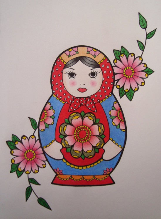 Matryoshka Heart Lock And Rose Tattoo Print
