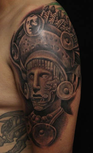 Mayan Warrior Portrait Tattoo