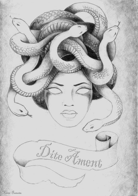 Medusa And Banner Tattoo Sketch