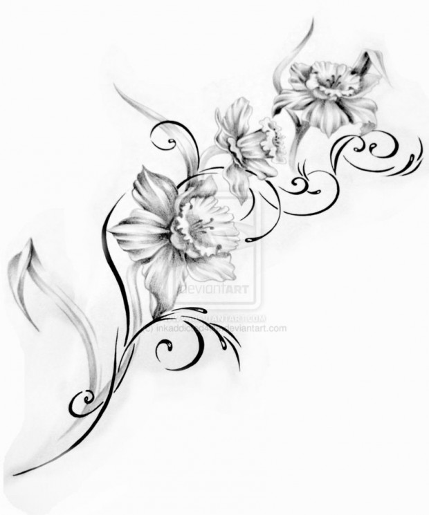 Medusa Flowers And Butterfly Tattoo Design