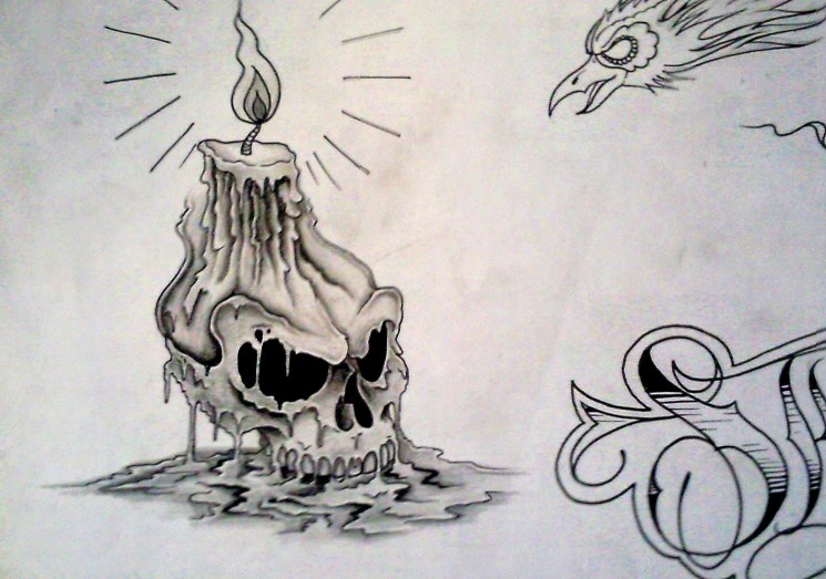 Melting Skull And Rose Tattoo Design