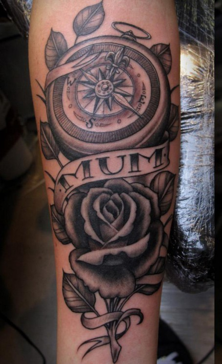 Memorable Compass With Bulb Tattoo Design