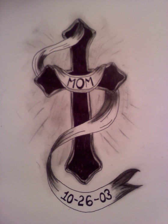 Memorable Cross Banner Tattoo Design