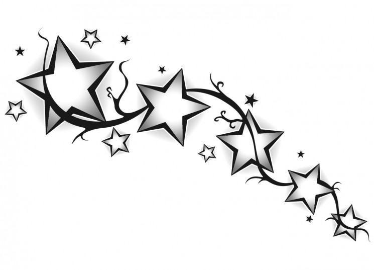 Memorable Star Outline Tattoo For Mother