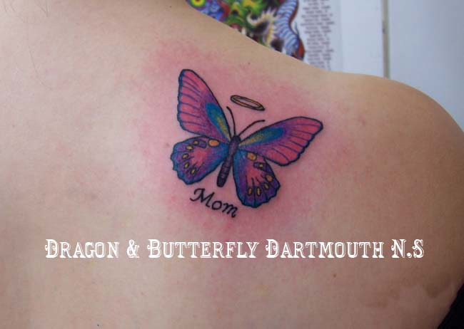 Memorial Butterfly Tattoo On Back