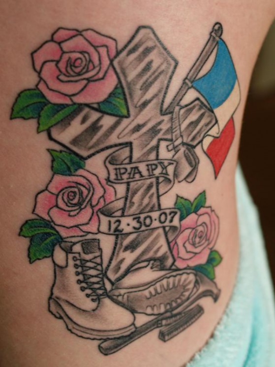 Memorial Cross And Roses Tattoo On Waist