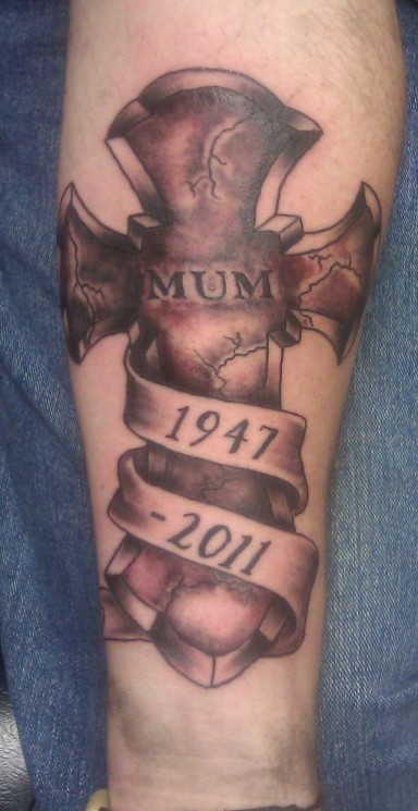 Memorial Cross Tattoo On Leg