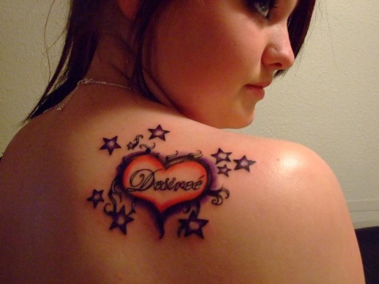 Memorial Double Hearts Tattoo On Upper Back