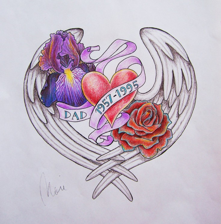Memorial Heart Rose Wings Tattoo Design