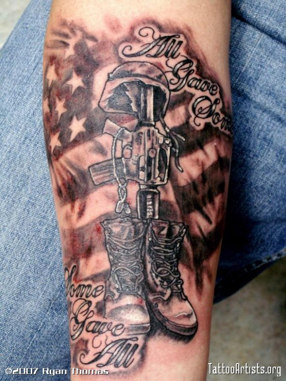Memorial Military Soldier Tattoo On Arm