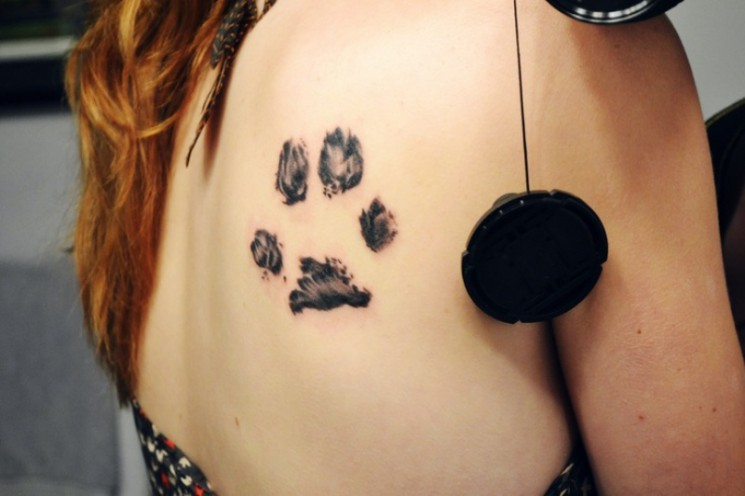 Memorial Paw Print Tattoo On Back Shoulder