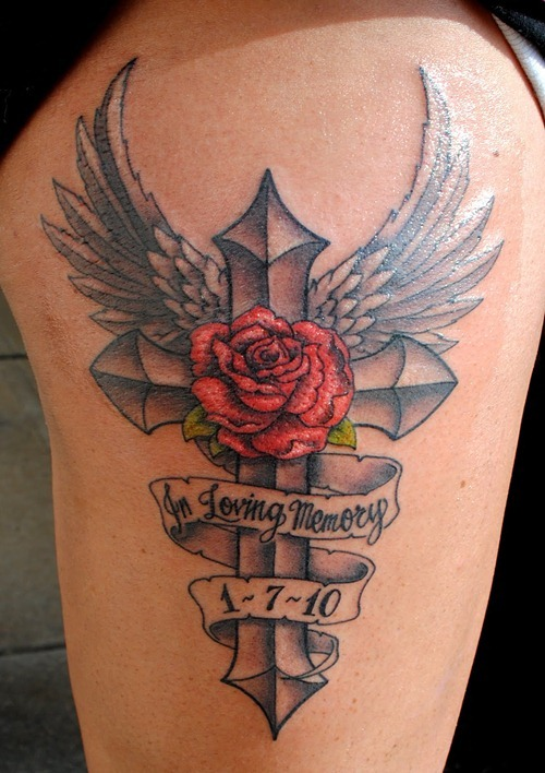 Memorial Rose And Wings Tattoo On Arm