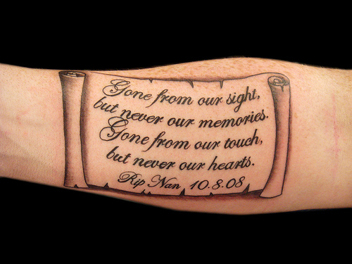 Memorial Scroll Tattoo On Forearm