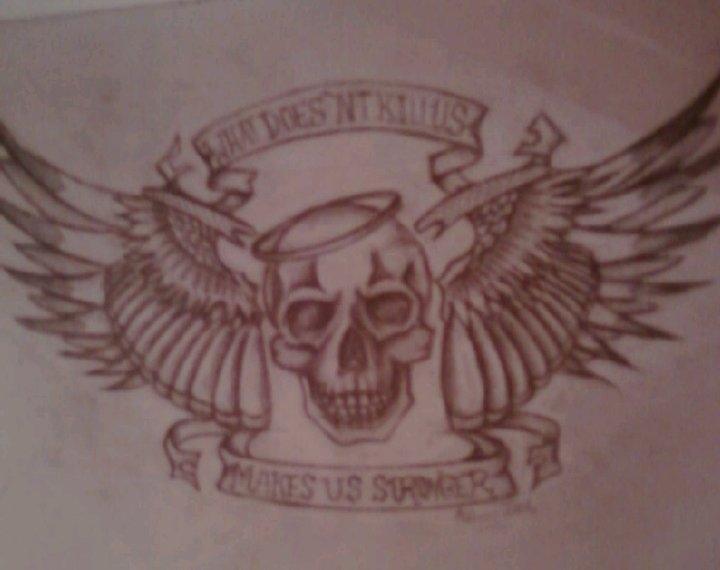 Memorial Skull And Wings Tattoo Design