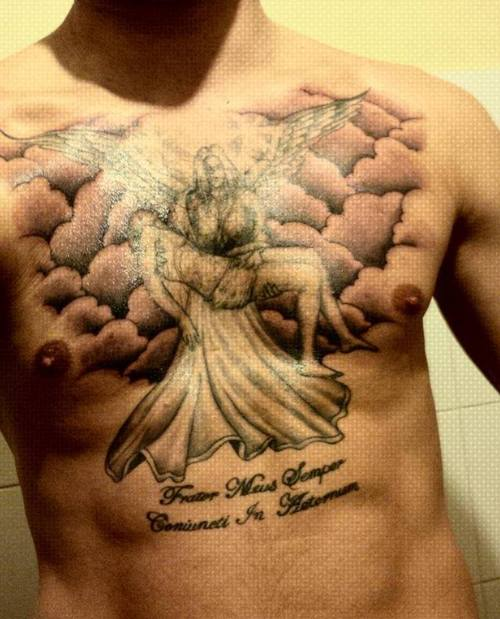 Memorial Smiling Portrait Tattoo On Chest