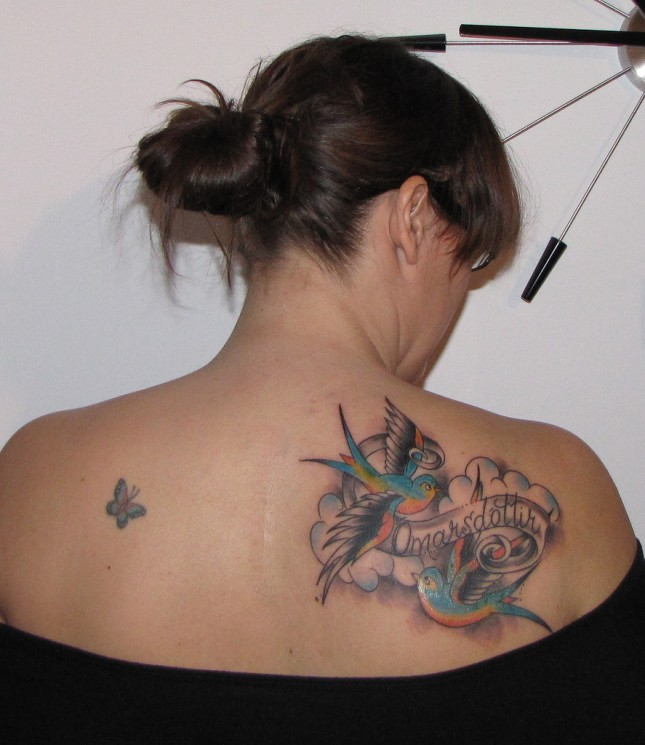 Memorial Swallows Tattoo On Right Back Shoulder
