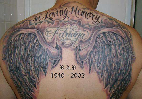 Memorial Wings Tattoo On Back Body For Men