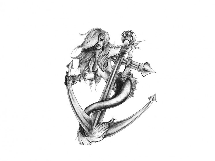 Mermaid And Anchor Design For Tattoo
