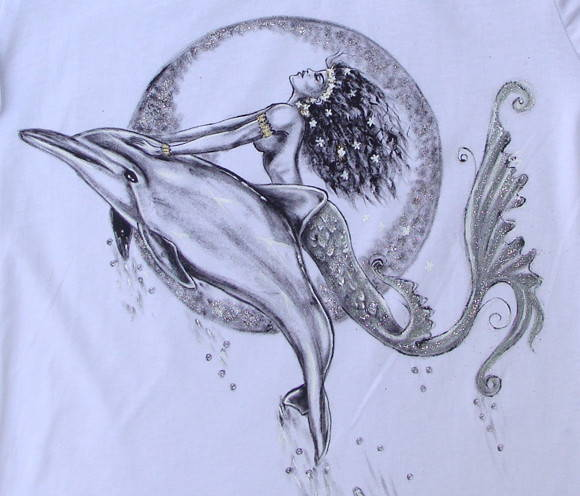 Mermaid And Dolphins Tattoo Design