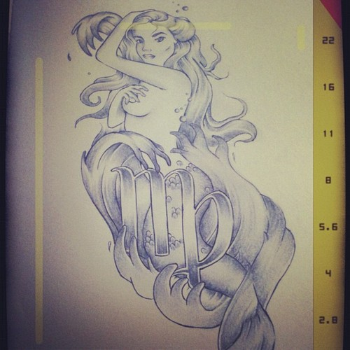 Mermaid Tattoo Sketch With Virgo Sign