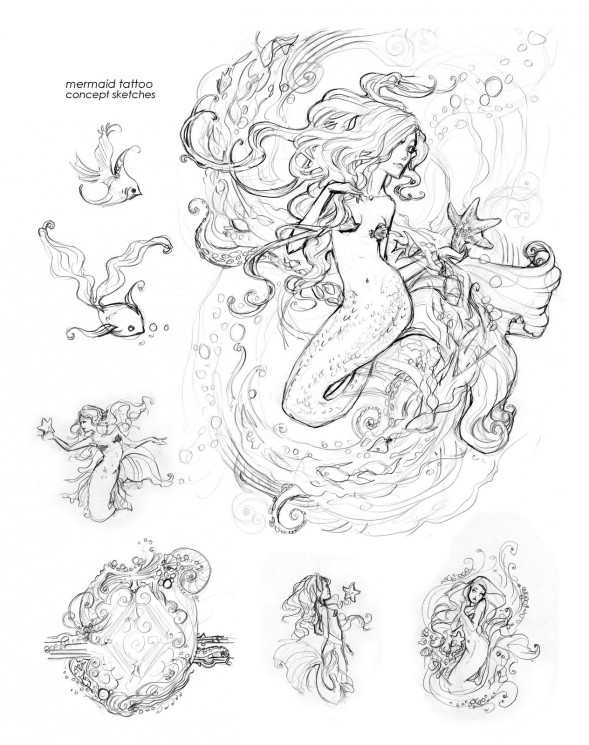 Mermaid Tattoo Sketches Page