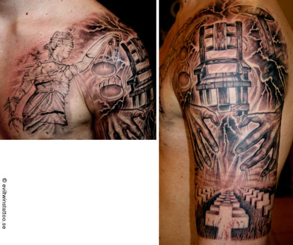 Metallica And Justice Tattoo On Back For All