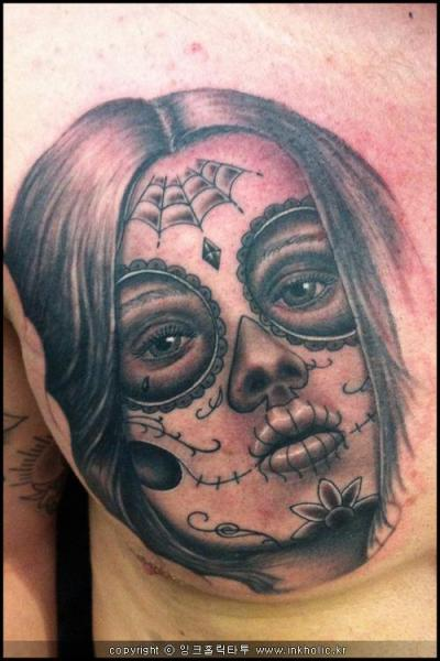Mexican Candy Skull Tattoo On Muscles