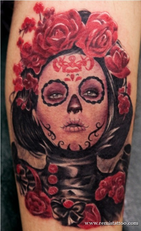 Mexican Death Mask Rose Tattoo Design
