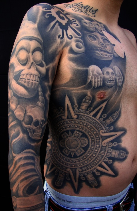 Mexican Gangsters And Eagle Tattoo Design