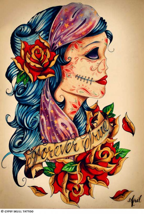 Mexican Girl With Skull Tattoo Design