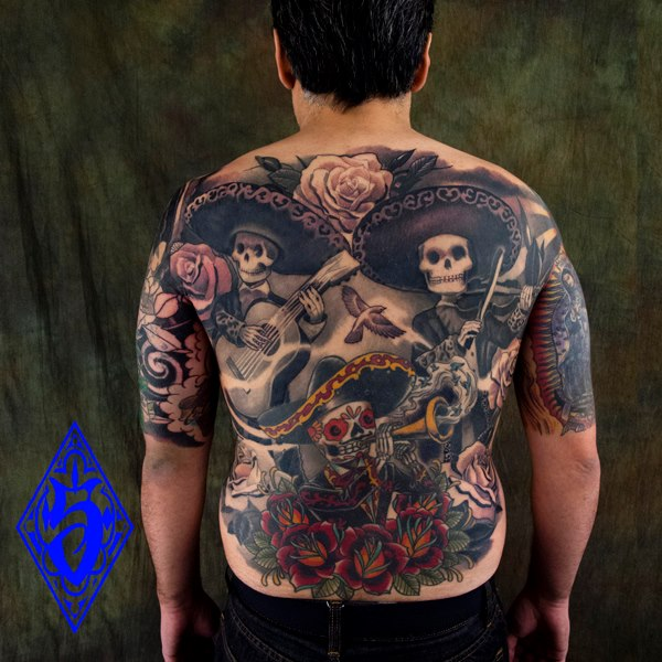 Mexican Skeletons Tattoo On Full Back