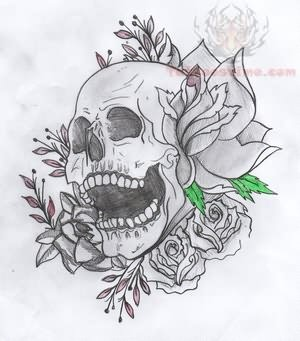 Mexican Skull And Flowers Sleeve Tattoo Design