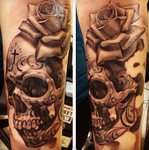 Mexican Skull And Roses Tattoo Design