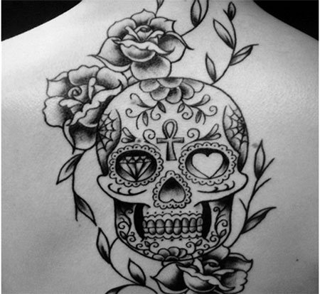 Mexican Skull And Roses Tattoo On Back