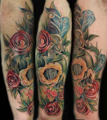 Mexican Skull And Roses Tattoo On Leg