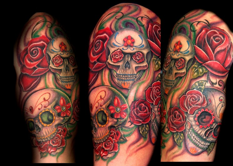 Mexican Skull Flower And Guitar Tattoos On Half Sleeve