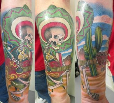Mexican Skull Guitarist And Heart Tattoo Design