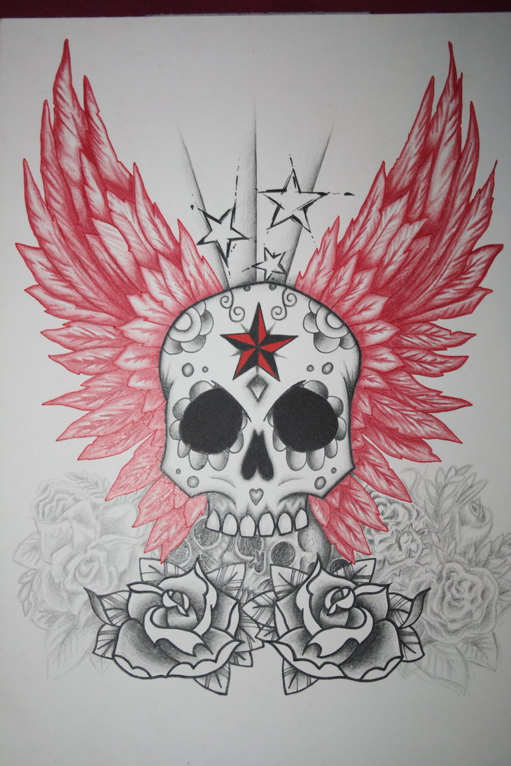 Mexican Skull With Wings And Roses Tattoo Art In 2017