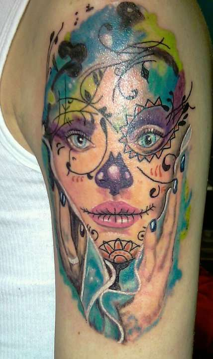 Mexican Skull Woman And Rose Tattoo On Biceps