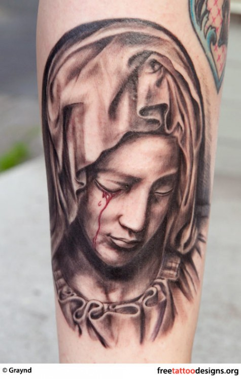Mexican Style Virgin Mary Tattoo Design