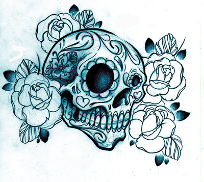 Mexican Sugar Skull And Flowers Tattoo Design