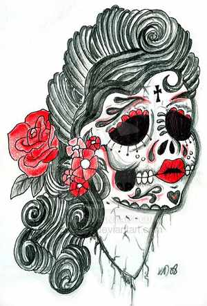 Mexican Sugar Skull And Roses Tattoo Design On Lower Back