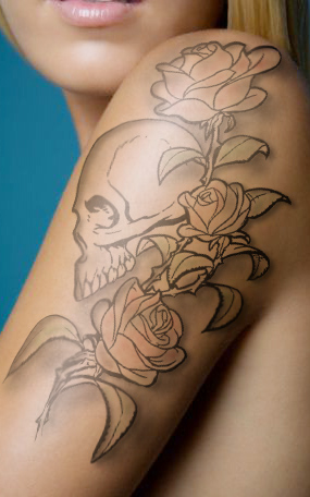 Mexican Sugar Skull With Roses Tattoo On Upper Back