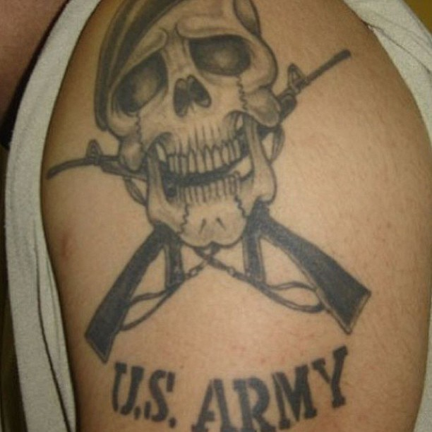 Miliary Skull And Guns Tattoo On Shoulder