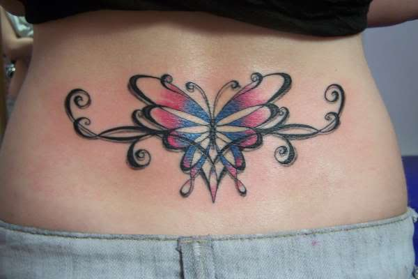 Military And Tribal Tattoo On Lower Back